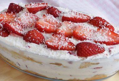 Tiramisu aux fraises sans œufs