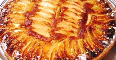 Tarte aux pommes et crème d'amandes au caramel